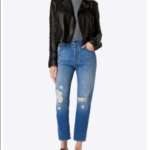 J brand Ivy cropped bleach wreck jeans 28
